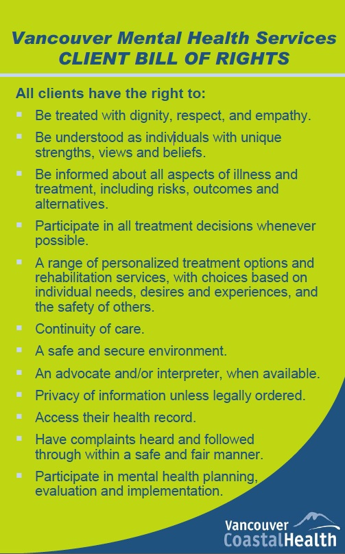 Client bill of rights spotlight on mental health for How to bill a client