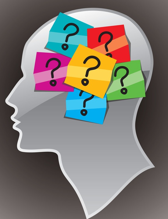 Head/Brain with post it notes of a question ? mark