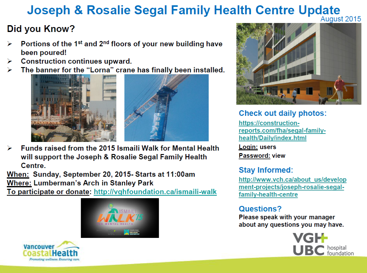Joseph and Rosalie Segal Family Health Centre Update